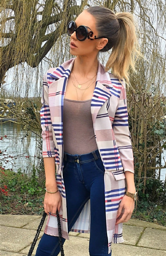 Checked Striped Longline Jacket